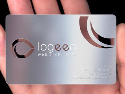 Metal business Card Logeen business card card web design freelance designer web business cards