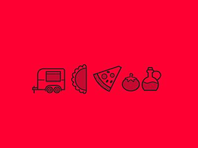 Pizzas Il camo branding empanadas pizza icons illustration