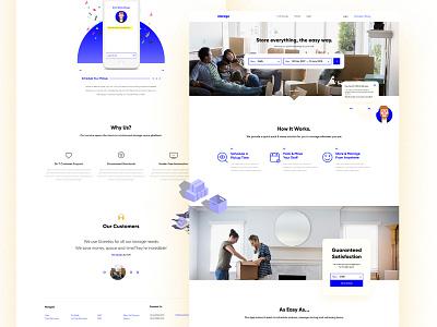 Landing Page— Consumer Warehousing bright bot app confetti patterns design illustration ux ui web