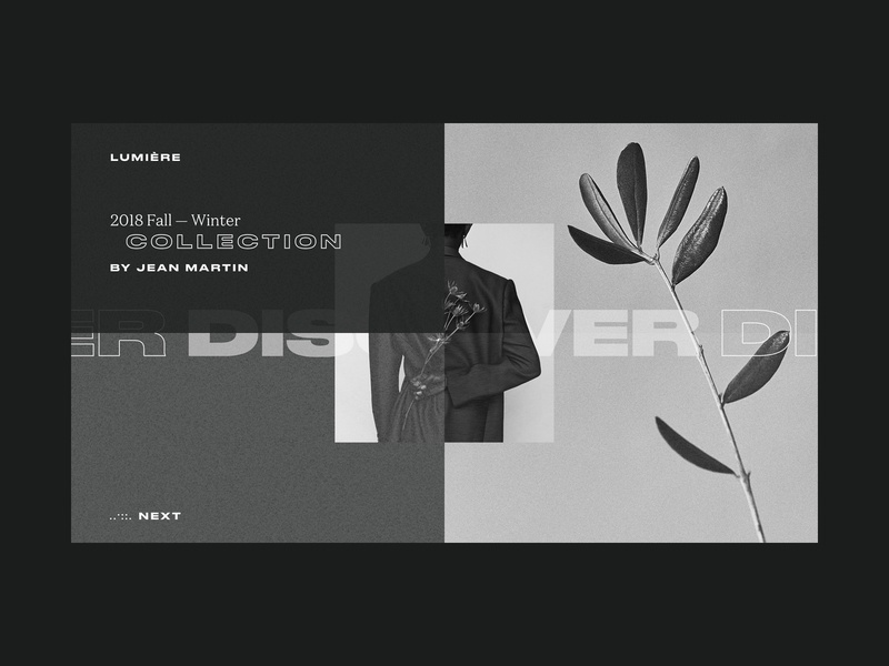 Lumière Store Intro Page noise shadow site black and white black  white grainy plants contrast noise grain typography grid web ui design