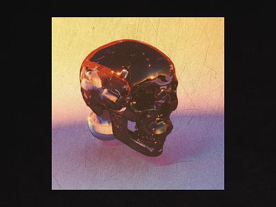 3D Studies — 005 skull metal chrome glass texture art cinema4d c4d 3d colors design