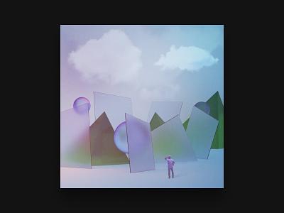 3D Studies — 007 material clouds light frost glass iridiscent texture geometry cg c4d 3d design