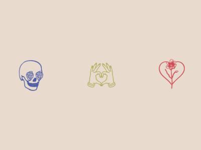 DavidAnn Iconography hands heart rose skull vector logo illustration icon design illustrator branding