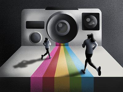Race 📷 ipadpro illustraion buttons rainbow colours camera runner running race procreate polaroid