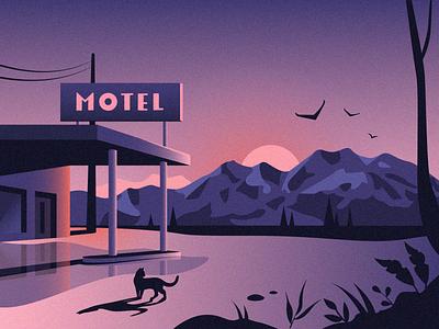 Motel 🗻 puddle rain sign tree view landcape birds hotel cat mountains illustration motel