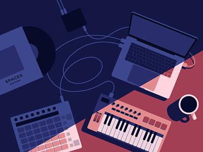 Sound design 🎹 light shadows coffee cables beat vinyl illustration sound macbook midi keyboad