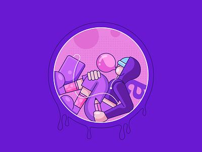BubbleGum🍬 shadows socks colours outline character pencil macbook polkadot bubblegum bubble