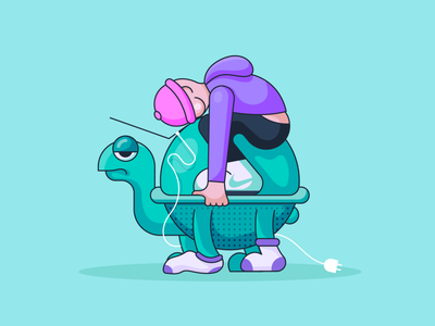 Disconnected 🐢 plug illustration macbook beanie character socks shadows outline turtle
