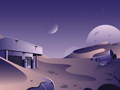 Arrival ✨ rusty stars sky stones spaceship space hills sand desert galaxy planet illustration