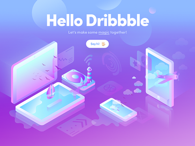 Let's do some magic ✨ vector isometric gradient colors illustration illu debut