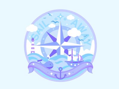 Sail away birds rose wind whale ship sail sailing illustration colours art