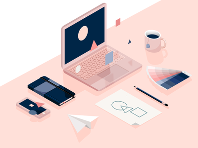 Creating process. perspective workspace shadows shapes iphone macbook notebook pencil mug plane palette colours isometric