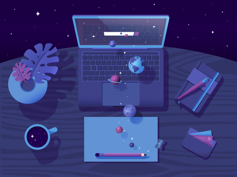 In Search Of Space ✨ colours illustartion pencil search stars planets paper macbook notebook mug desk space