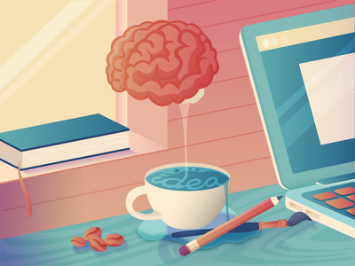 A Cup Of Idea gradient idea macbook book coffee cup brain pencil colours illustration vector