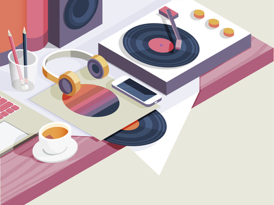 Awake tea pencils iphone speaker gramophone vinyl headphones music colours isometric vector illustraion