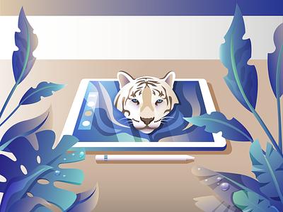 Go Wild 🌿 water drop leaf flowers plant tiger colours gradient illustration vector ipad