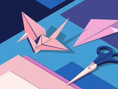 Square 💠 shapes square scissors colours paper origami swan isometric