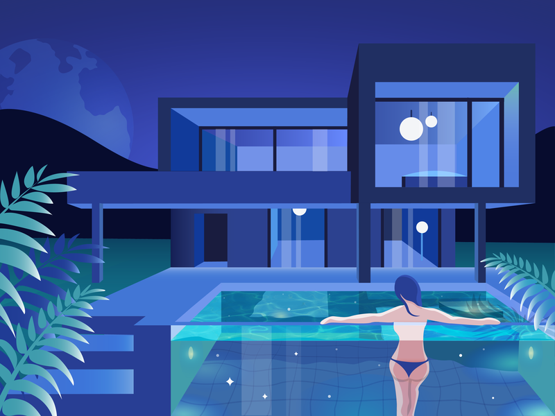 In the Stars✨ pool galaxy sky stars night modern house girl leaves gradients illustration
