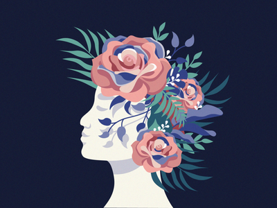 Mind Bloom 🌺 surrealism character shadows colours head bloom leaves flowers illustration vector