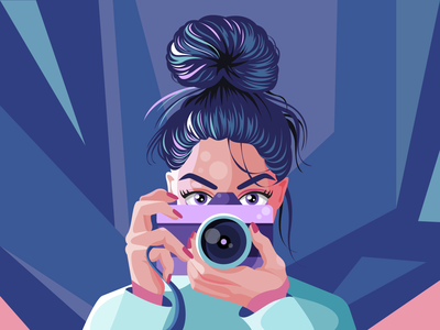 I see U 📷 bun hands eyes hair colours shadows camera portrait character illustration vector