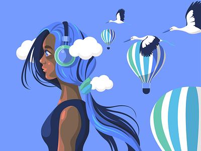 Cloudhead☁️ headphones sky skin balloon blue hair surrealism character illustration vector birds clouds
