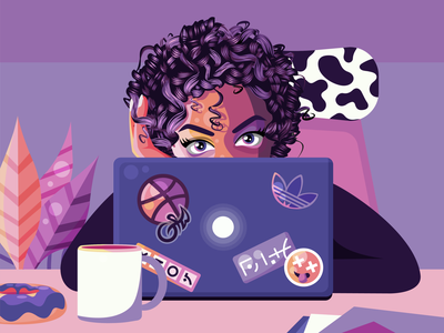 Mood 👁 macbook girl sticker donut mug coffee character eyes colours illustration vector