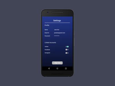 Daily UI #7 - Settings visual design mobile design ui design interaction design daily ui mobile settings app sketch