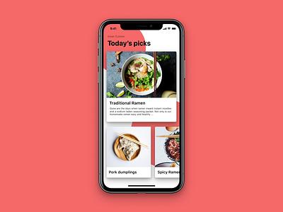Recipe App ios iphone x figma mobile design card mobile app design app cook recipe ui