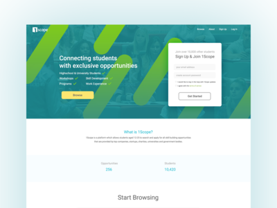 1Scope Landing Page headers header home page sign up landing page