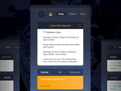 Trip View Mobile App sydney public transport bus transport train app mobile view trip