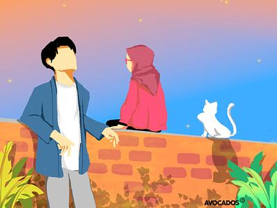 でも きもち を つたえて しまえば いつか . digitalartist indonesia designer artwork digitalart illustration