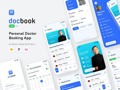 docBook - Personal Doctor Booking App (Full Design) outlet patient barcode sketch new ui ux design trendy calendar menu bar schedule login page industry medical apps booking doctor personal docbook
