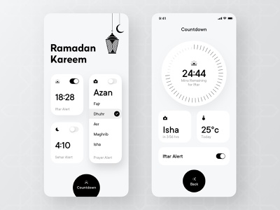 Ramadan Timer App Concept new ux trendy ui onoffswitch switch azanti temperature prayer salah design app countdown timer ramadan mubarak ramazan ramadan kareem