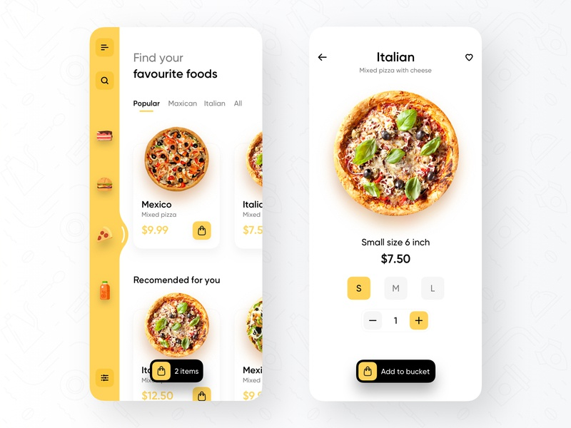 Fast-Food Delivery App creative mobile mobile app food ordering bucket find maxico pizza ui ux trendy yellow minimal food app fast food