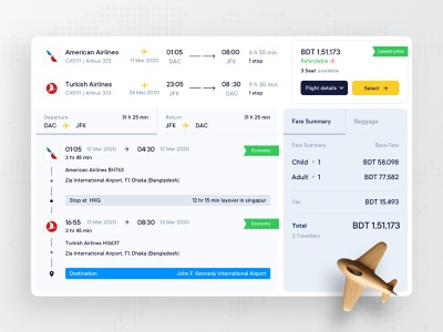 Flight Booking Details flat ux ui holyday trip vacation map search route web search results destination dashboad book plane ticket air details booking flight
