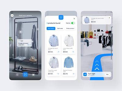 AR Navigation based Online Shop popular ux design ui augmented reality augmentedreality shirt best shot product fashion scan shop map direction online navigation