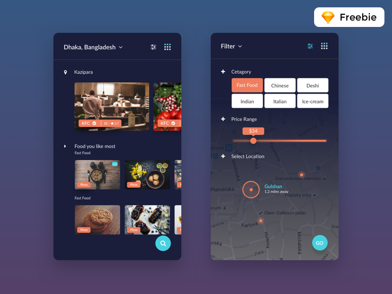 Finding Food App Screen design ux ui trendy sketch black app apps find food freebie free