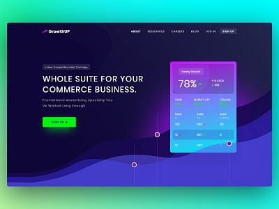 Commerce Analytics Homepage website uiux homepage gradient commerce business analytics black dark attractive popular trendy