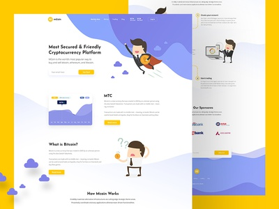 MCOIN - Blockchain Full Landing Page Concept blockchain cryptocoin cryptocurrency design interaction illustration typography ui ux website landing page