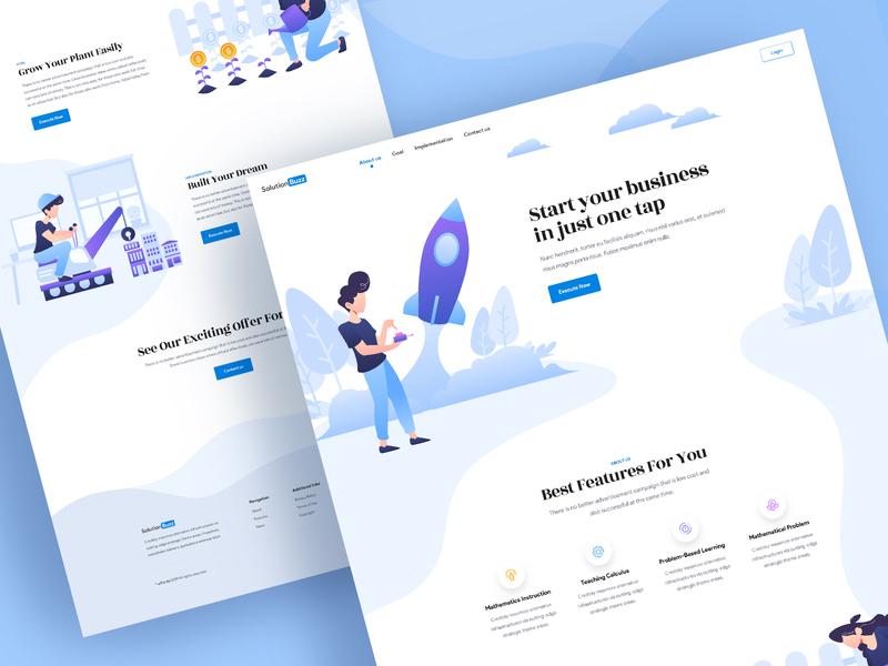 SolutionBuzz - Landing Page Concept illustration vector popular 2019 concept ux color page website landing new design trendy ui