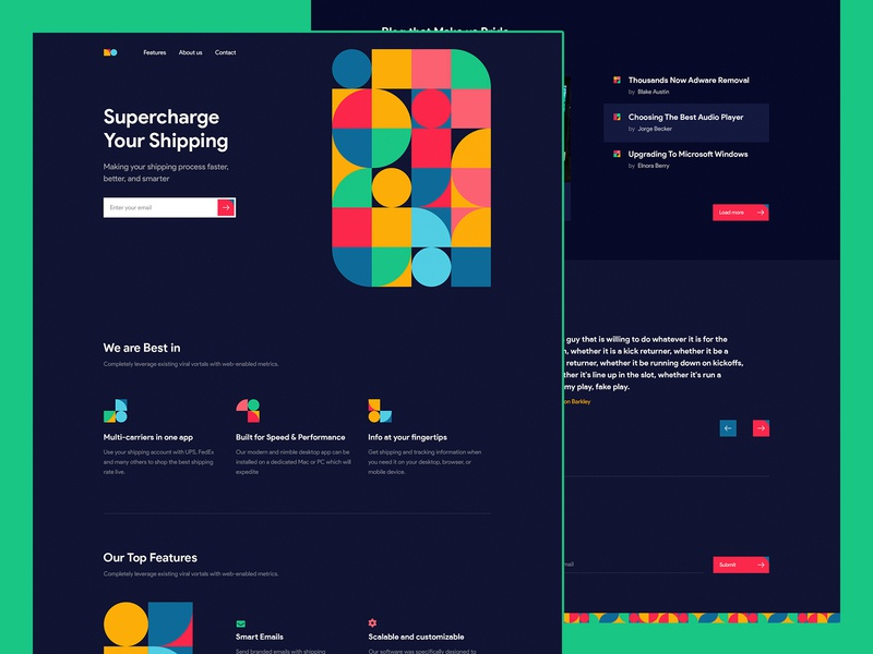 Pattern Landing Page Concept page typography popular delivery shipping green theme dark agency vector 2019 concept website color new landing ux design trendy ui