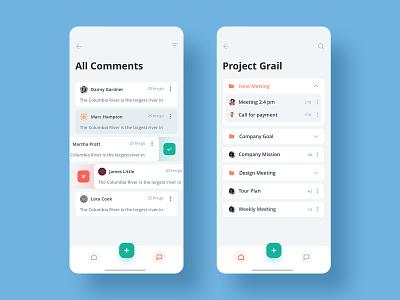 Task Manager App V3 delete grail project comments task manager task todolist todo task management 2019 new ux design trendy ui