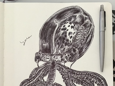 Ballpen Glass Octopus 🐙 sketch blackandwhite 🐙 octopus drawing illustration ballpen ball