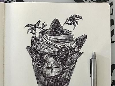 Ballpen Icecream 🍦 sweets icecream ice parkerpen moleskine sketch design drawing illustration ballpen