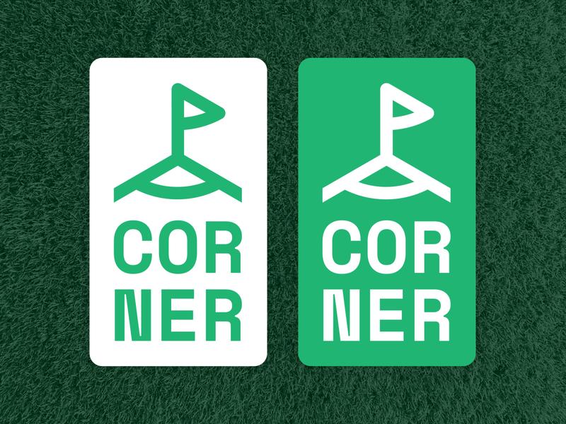 Corner Logo Design typogaphy minimal football soccer corner logo