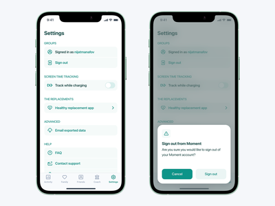 Moment: Settings / Sign out teal switch icon settings icon modal mobile ui mobile app design ios app moment ios account log out sign out settings animation design ux ui app