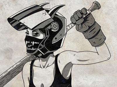 Bad Bitch character illustration poster gang violence wip