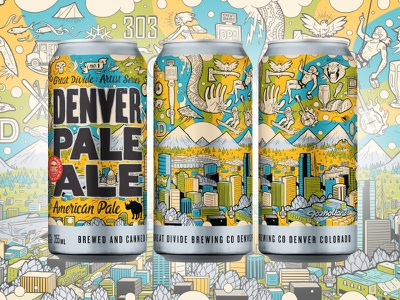 Great Divide: Artist Series, Denver Pale Ale No. 1 character design mountains skyline city artist series product design beer illustration denver craft beer