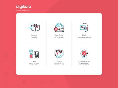 Digikala USP icon iconography icon design usps usp branding logo vector design 2d illustration