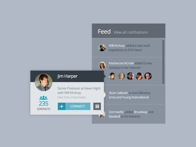 Feed and user card ux ui profile feed minimal clean user contact social share